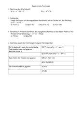 Übungsblatt: Quadratische Funktionen