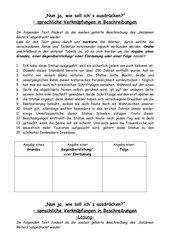 Arbeitsblatt Einsatz adverbialer Bestimmungen bei Beschreibungen