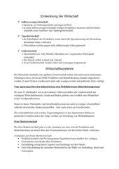 Infoblatt Entwicklung der Wirtschaft und Wirtschaftssysteme
