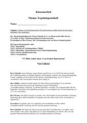 Klassenarbeit Ergebnisprotokoll