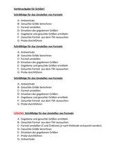 Schrittfolge für das Umstellen von Formeln