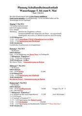 Schulllandheimaufenthalt Wasserkuppe Zeitplan
