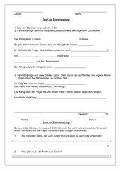 Übung oder Test zur Sinnerfassung Klasse 3