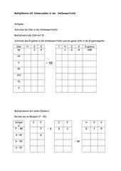 Multiplikation mit Zehnerzahlen in der Stellenwerttafel