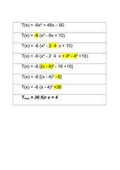 Quadratische Ergänzung, Extremwert bestimmen - Streifen