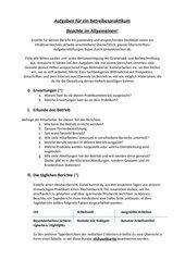 Aufgaben für ein 3 wöchiges Betriebspraktikum Klasse 9