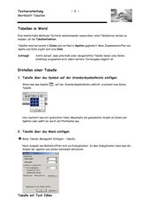 Merkblatt Tabellen in Word