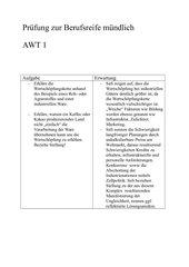 Prüfungsfragen Berufsreife mündlich AWT