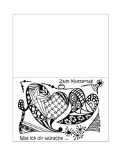 Muttertagskarte zum Ausmalen