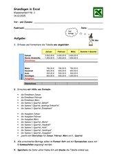 Erste Klassenarbeit in Excel