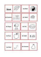 Dominospiel: Herbstwörter