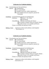 Kriterien zur Gedichtrezitation