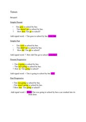 Exercise: Statements, Negations and Questions  in eight different Tenses