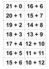 Alle Plusaufgaben des Zahlenraums 21 - 30