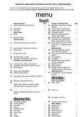 Englisch food words: Speisekarte