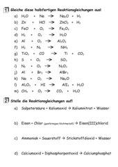Ungewöhnlich Chemische Gleichungen Arbeitsblatt Ideen - Arbeitsblatt ...