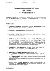 Aufgaben für Portfolio Deutsch 8 Die Räuber differenziert!