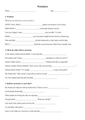 Worksheet reflexive pronouns - each other