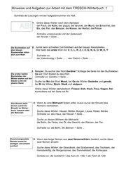 Hinweise und Aufgaben zur Arbeit mit dem FRESCH-Wörterbuch