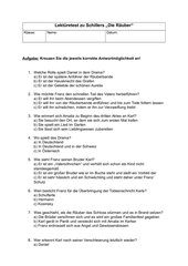 Schillers Räuber Lektüretest