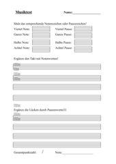 Musiktest: Noten- und Pausenzeichen