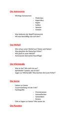 Referat Astronomie - Themenvorschläge und Bewertungsraster
