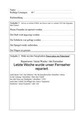 Lernzielkontrolle Deutsch (jg 7 oder 8) Aktiv/Passiv/Konjunktiv