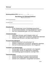 Berufspraktikum Betriebspraktikum Beurteilungsbogen Klasse 8-13
