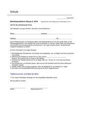 Betriebspraktikum Berufspraktikum Klasse 8-13 Firmen Infobrief