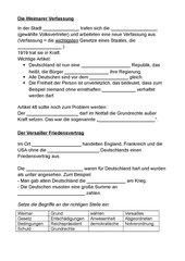 Arbeitsblatt: Weimarer Verfassung und Vertrag von Versailles