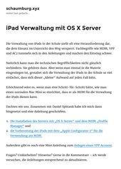 iPad Verwaltung mit OS X Server