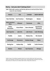 Welcher Begriff passt nicht - Topographie Nordamerika (bilingual)