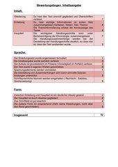 Bewertungsbogen Inhaltsangabe