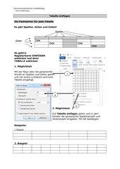 Tabellen und Rahmen - Einfügen von einfachen Tabellen