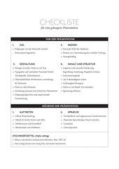 Checkliste für eine gelungene Präsentation