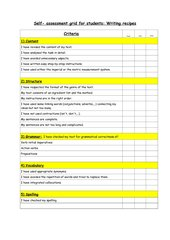 Self-Assessment Grid - Writing a recipe