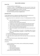 Style Sheet Summary Writing
