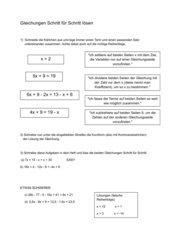 Gleichungen Schritt für Schritt lösen