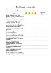 Checkliste Inhaltsangabe für Schüler
