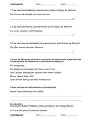 Test Satzglieder (Subjekt, Prädikat, Akkusativobjekt)
