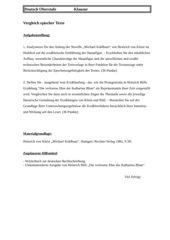 Vergleich epischer Texte Kohlhaas Blum