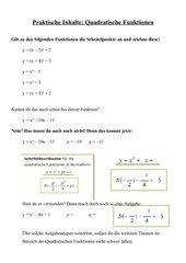 Quadratische Funktionen zeichnen + Normalform