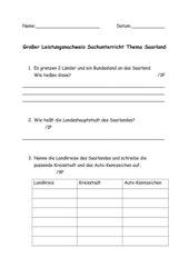 Großer Leistungsnachweis - Sachunterricht zum Thema Saarland