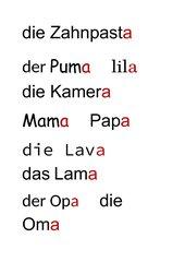 Schriftspracherwerb - Wörter mit Endung -a