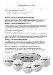 Merkmale literarischer Texte (Oberstufe)