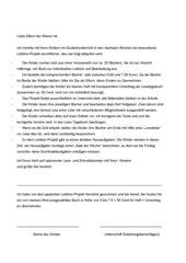 Individuelles Leseprojekt in Klasse 4 (Elternbrief)