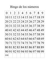 Bingo de los números, plantilla del 0 al 100