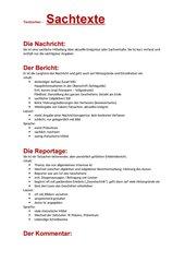 journalistische Textsorten - Zusammenfassendes AB