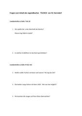 Tschick    Fragen zum Inhalt des Buches