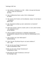 Testfragen und Antworten zur Reformation u. zum  dreißigjährigen Krieg